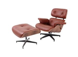 Leather Recliner with Ottoman: