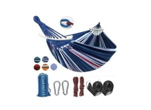 Tintonlife Brazilian Double Hammock with Blue/White Stripe