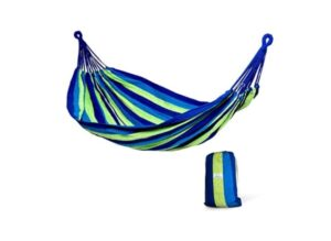 Hammock Sky Brazilian Double Hammock- Soft Woven Cotton Fabric (Blue & Green Stripes)