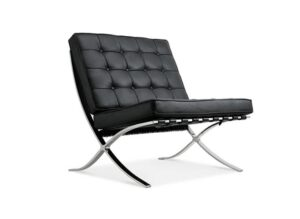 MOOSENG Reception Love Seat Chair Top Grain Leather by Mies Van Der Rohe, Classics Black: