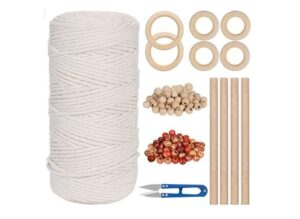 Macrame Kit - 164 Yards Macrame Cord 3mm Natural Macrame Rope, Soft Cotton Cord